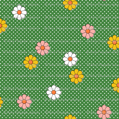Meadow* (Dollar Bill) || flower flowers floral daisy daisies polka dots 70s retro vintage green