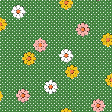 Meadow* (Dollar Bill) || flower flowers floral daisy daisies polka dots 70s retro vintage green fabric by pennycandy on Spoonflower - custom fabric