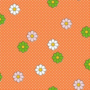 Meadow* (Valencia) || flower flowers floral daisy daisies polka dots 70s retro vintage orange