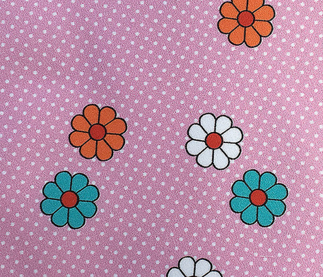 Meadow* (Pink Cow) || flower flowers floral daisy daisies polka dots 70s retro vintage pastel
