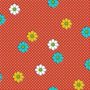 Meadow* (Tomato Soup) || flower flowers floral daisy daisies polka dots 70s retro vintage red