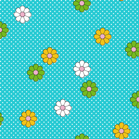 Meadow* (Television Blue) || flower flowers floral daisy daisies polka dots 70s retro vintage turquoise aqua fabric by pennycandy on Spoonflower - custom fabric