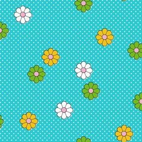 Meadow* (Television Blue) || flower flowers floral daisy daisies polka dots 70s retro vintage turquoise aqua
