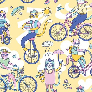 Cycle Cats! in Yellow