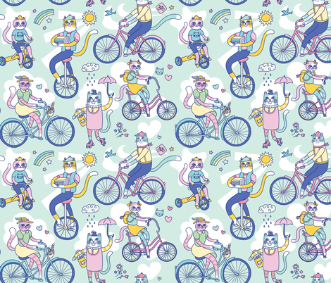 Cycle Cats! in Blue fabric by pinkowlet on Spoonflower - custom fabric