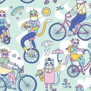 Cycle Cats! in Blue