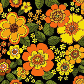 flowers with smaller flowers  repeat yellow orange w black base
