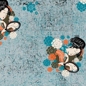 Geisha on turquoise textured background