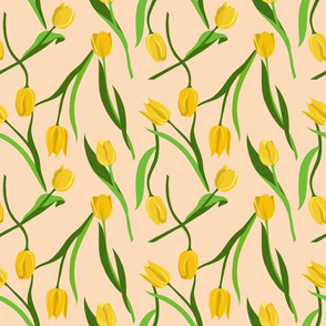 Yellow tulips on peach