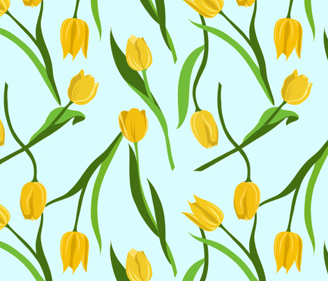 Large Yellow Tulips on Blue  fabric by new_branch_studio on Spoonflower - custom fabric