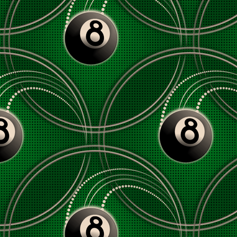 ★ MAGIC EIGHT BALL ★ Green - Large Scale / Collection : 8 Balls - Billiard & Rock 'n' Roll Old School Tattoo Print fabric by borderlines on Spoonflower - custom fabric