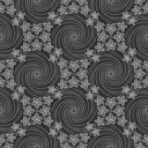 ★ HAWAII VORTEX ★ Black & White - Small Scale / Collection : Hawaiian Trip - Plumeria & Tiki for Aloha Shirt Print