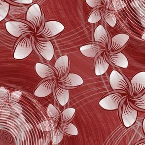 ★ HAWAII FLOWERS ★ Burgundy Red - Large Scale / Collection : Hawaiian Trip - Plumeria & Tiki for Aloha Shirt Print