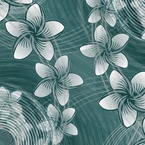 ★ HAWAII FLOWERS ★ Green - Large Scale / Collection : Hawaiian Trip - Plumeria & Tiki for Aloha Shirt Print