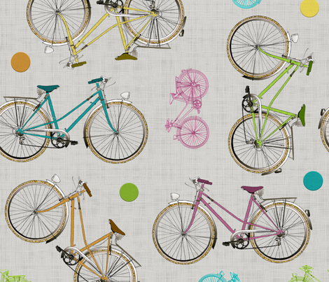 Vintage bicycles fabric by vannina on Spoonflower - custom fabric