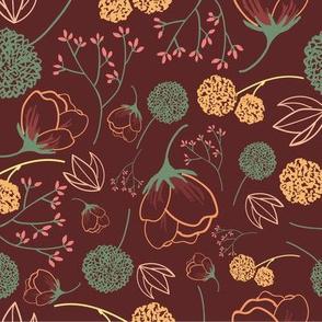 Flowers (Maroon)