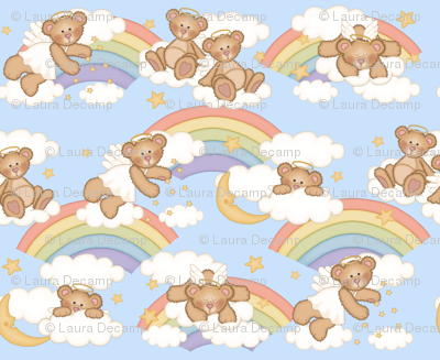 Angel Bear Moon Star Rainbow Cloud Nursery