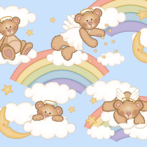 Angel Bear Moon Star Rainbow Cloud Nursery  fabric by decamp_studios on Spoonflower - custom fabric