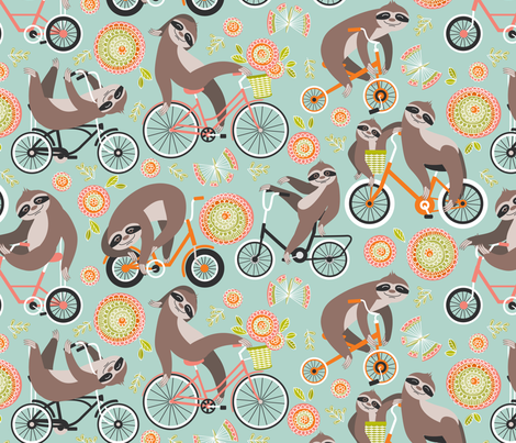 Sloths on bikes fabric by cjldesigns on Spoonflower - custom fabric