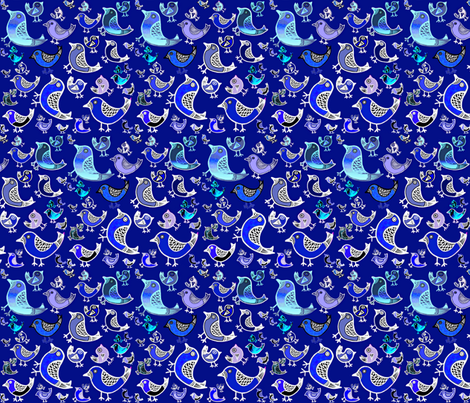 Blue Birds fabric by maryartdecor&design on Spoonflower - custom fabric