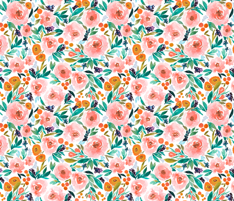 Indy bloom Design Pink Berry Blossom B fabric by indybloomdesign on Spoonflower - custom fabric