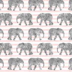 baby elephants - pink stripes
