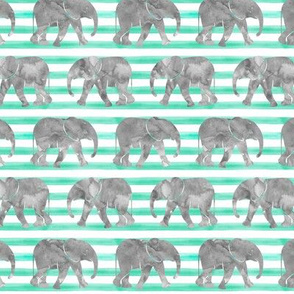 baby elephants - teal stripes