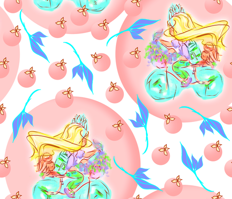 Cycling princess fabric by cutebugbubbles on Spoonflower - custom fabric
