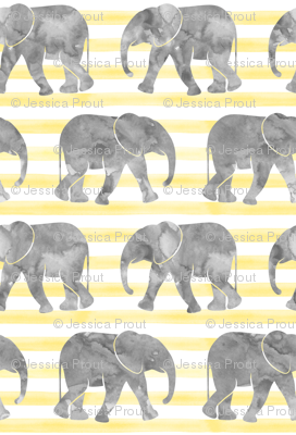 baby elephants - yellow stripes