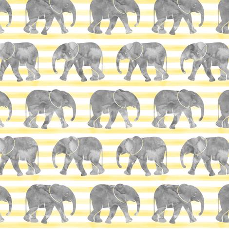 baby elephants - yellow stripes fabric by littlearrowdesign on Spoonflower - custom fabric