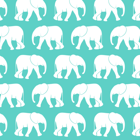 baby elephants - teal fabric by littlearrowdesign on Spoonflower - custom fabric
