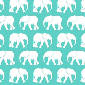 baby elephants - teal