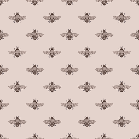 Bees Sepia Wide Spaced fabric by thistleandfox on Spoonflower - custom fabric