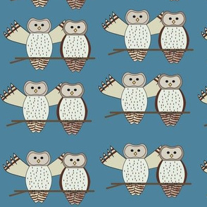 Twin Owls Blue