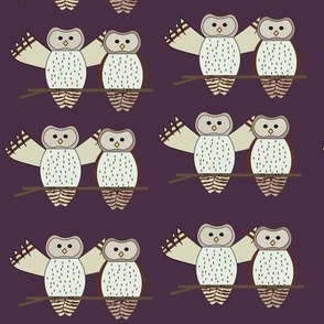 Twin Owls Dark Purple