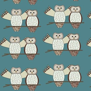Twin Owls Teal