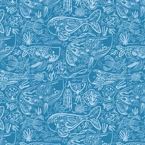Ocean turquoise spoonflower