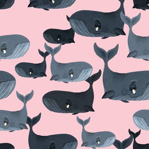 Calm Blue Whales - Larger Scale on Light Pink