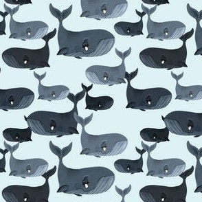 Calm Blue Whales - Smaller Scale on Light Blue