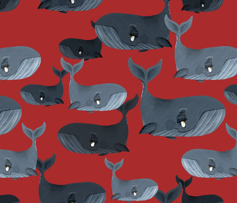 Calm Blue Whales - Larger Scale on Red fabric by taraput on Spoonflower - custom fabric