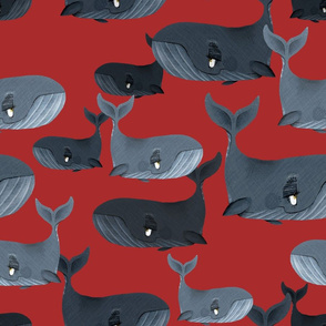Calm Blue Whales - Larger Scale on Red