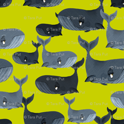 Calm Blue Whales - Larger Scale on Yellow Green