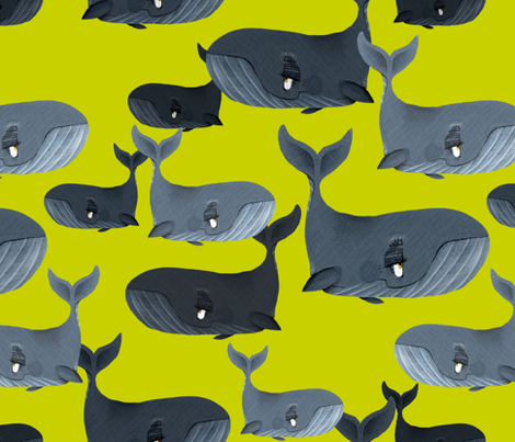 Calm Blue Whales - Larger Scale on Yellow Green fabric by taraput on Spoonflower - custom fabric