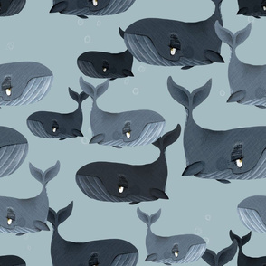 Calm Blue Whales - Larger Scale on Grey Blue