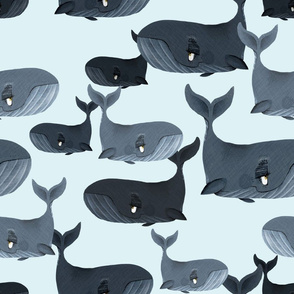 Calm Blue Whales - Larger Scale on Light Blue