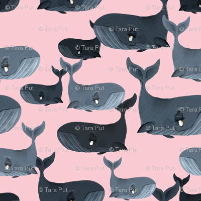 Calm Blue Whales - Smaller Scale on Light Pink