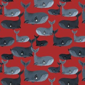 Calm Blue Whales - Smaller Scale on Red