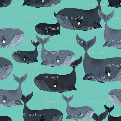 Calm Blue Whales - Smaller Scale on Turquoise