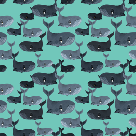 Calm Blue Whales - Smaller Scale on Turquoise fabric by taraput on Spoonflower - custom fabric