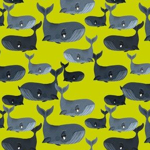 Calm Blue Whales - Smaller Scale on Yellow Green